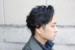 リバースアップバング ツーブロック パーマ メンズ ビジネススタイル スーツに合う モテ髪
